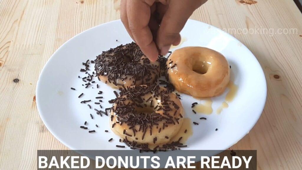 Eggless-doughnuts-recipe-eggless-donut-recipe-baked-donut-glaze-sprinkle