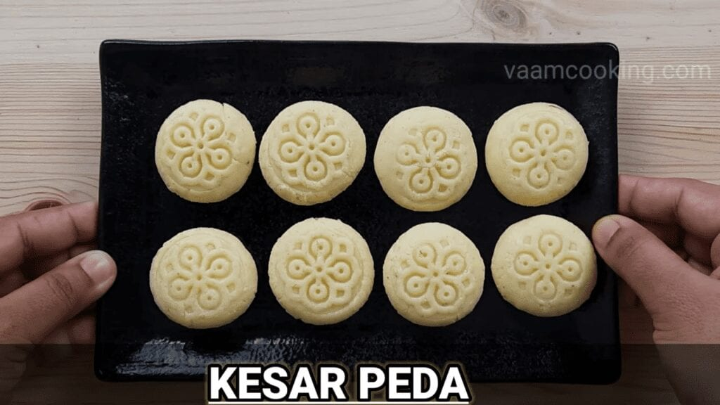 Instant-kesar-peda-homemade-peda-Final-arrangement