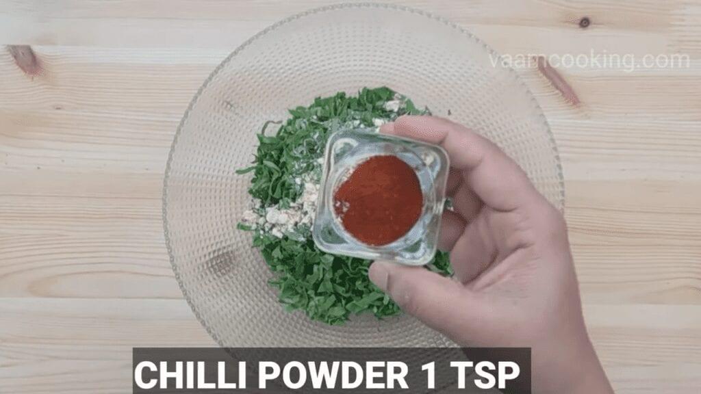 Palak-vadi-recipe-healthy-spinach-rolls-chili-powder