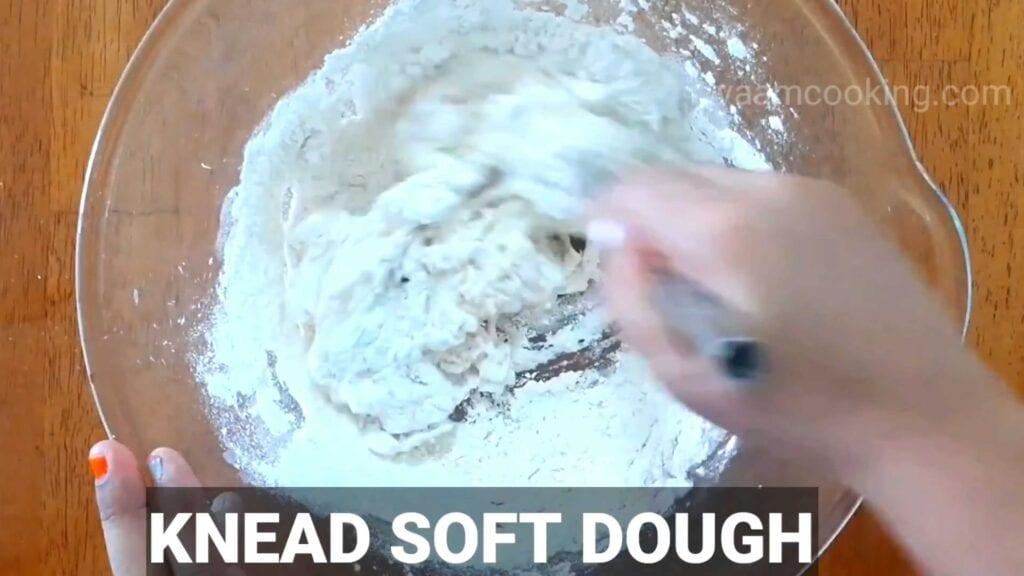 Paneer tikka pizza knead soft dough