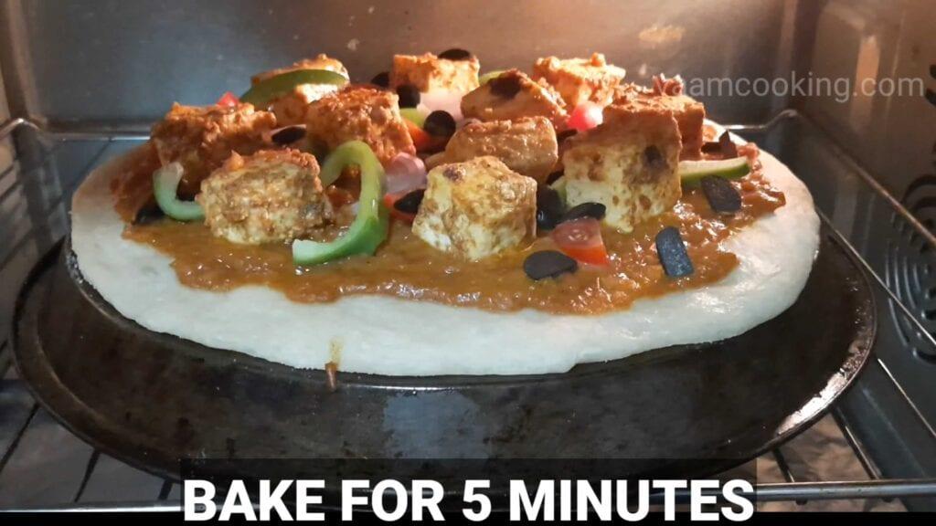 Paneer tikka pizza base oven for 5mins