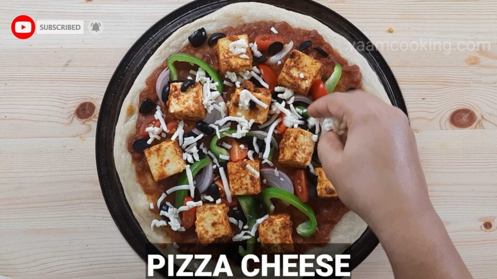 Paneer tikka pizza base pizza cheese