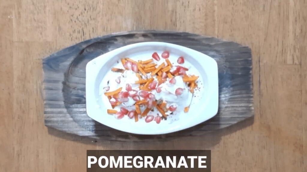 Vrat-Dahivada-recipe-vada-ready-for-plating-potato-pomegrante