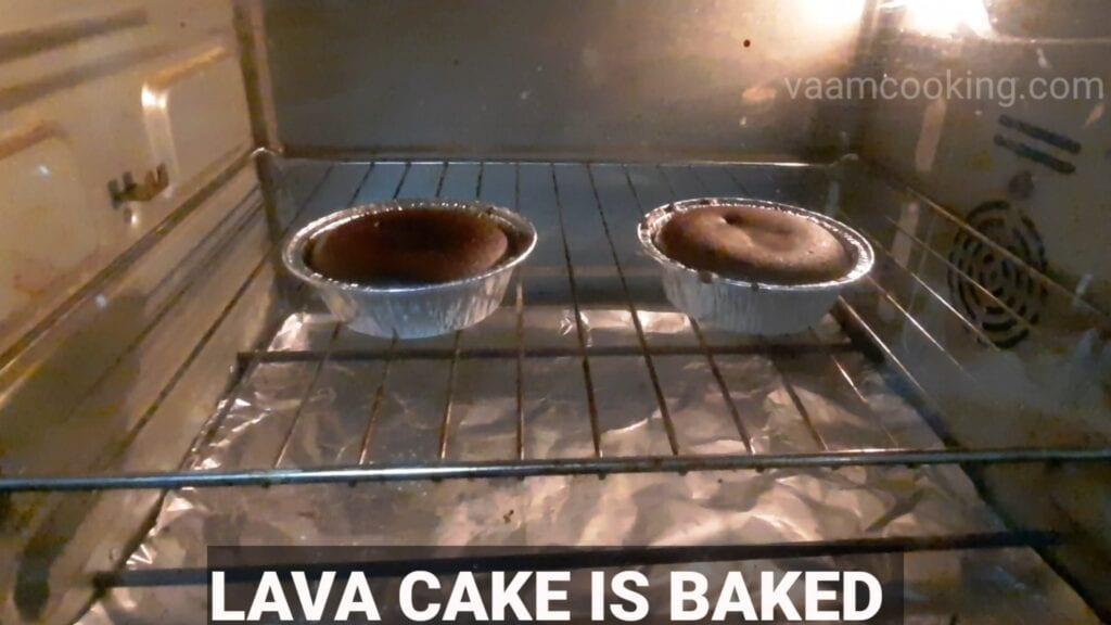 choco-lava-cake in oven