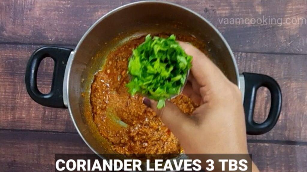 veg-korma-recipe add coriander leaves