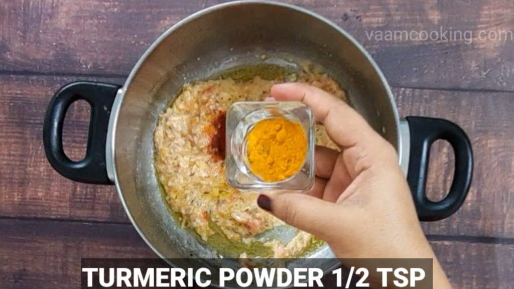 veg-korma-recipe add turmeric powder