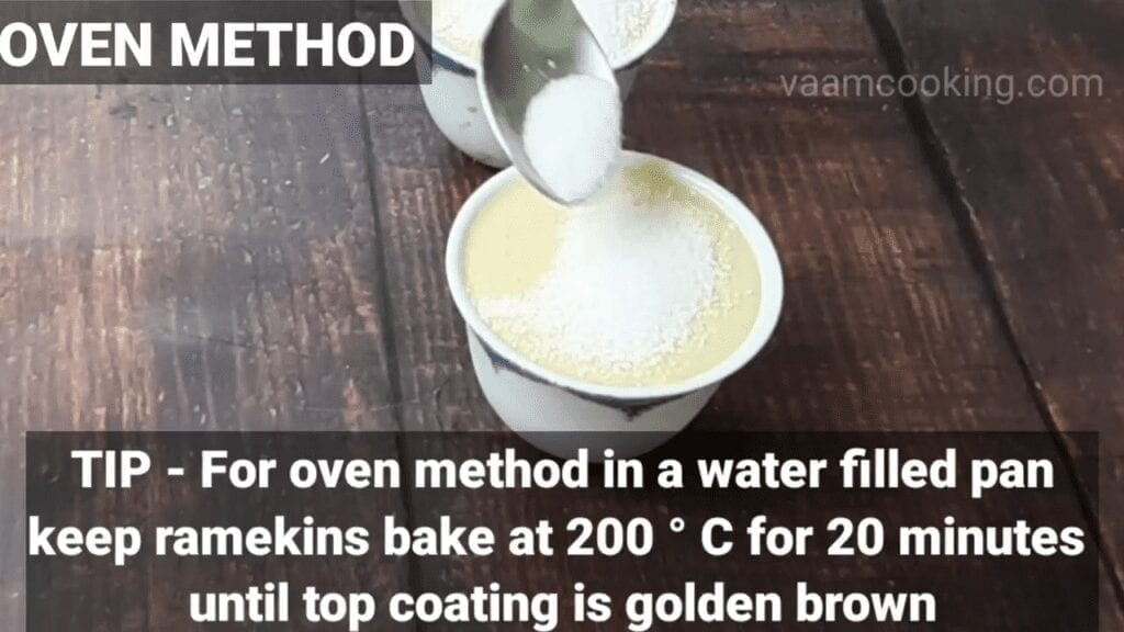 Eggless-Crème-Brulee-recipe-oven-tip