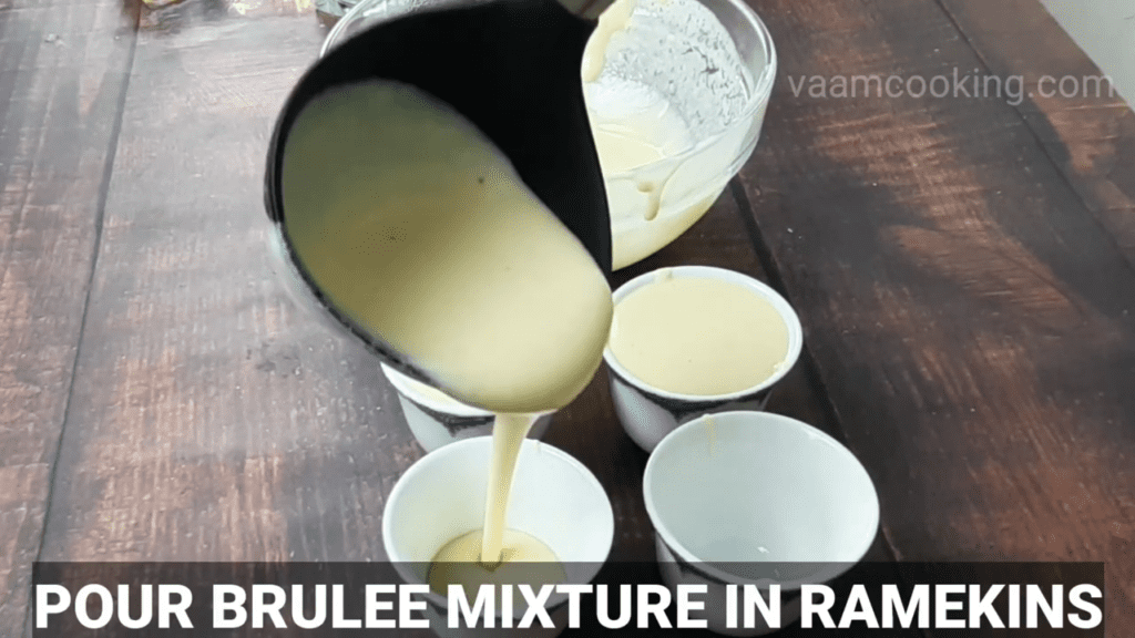 Eggless-Crème-Brulee-recipe-pour-brulee-mixture-in-cups