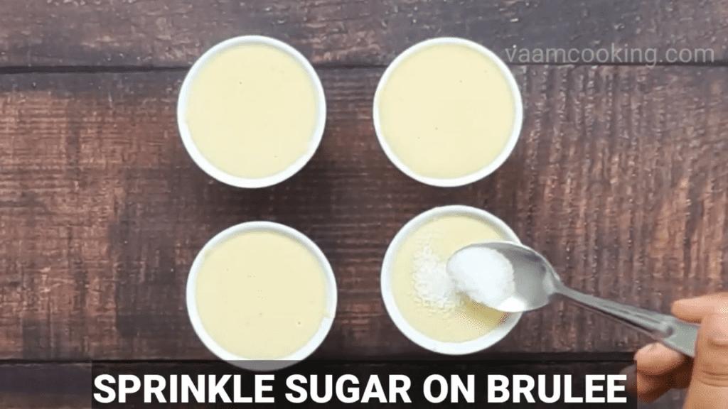 Eggless-Crème-Brulee-recipe-sprinkle-sugar