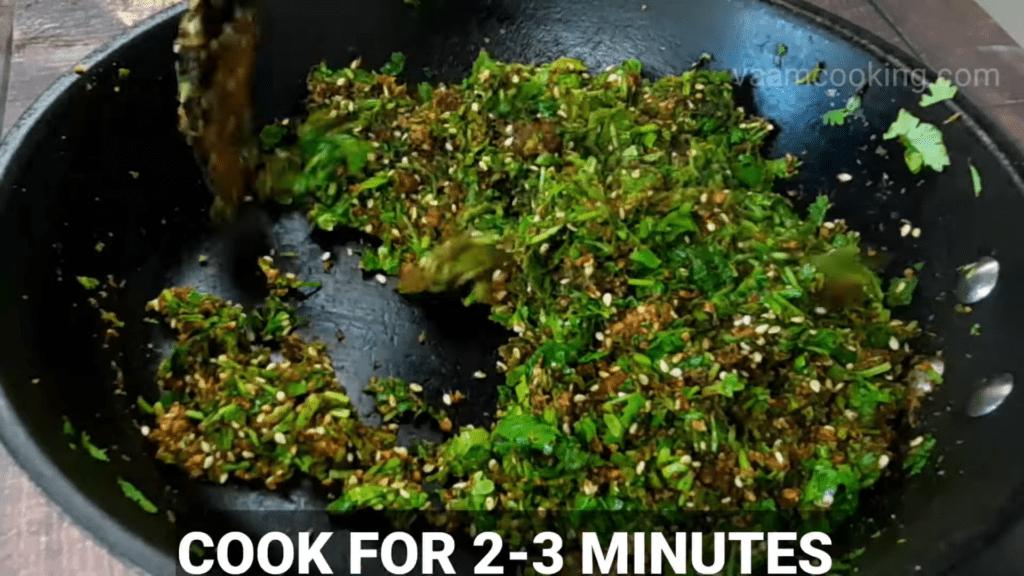 Kothimbir-vadi-recipe-stuffing-cook-for-2-mins