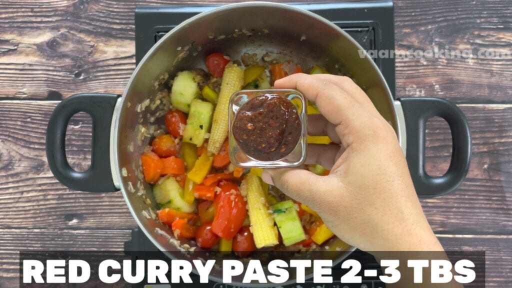 Vegetarian-Thai-red-curry-recipe-add-red-curry-paste