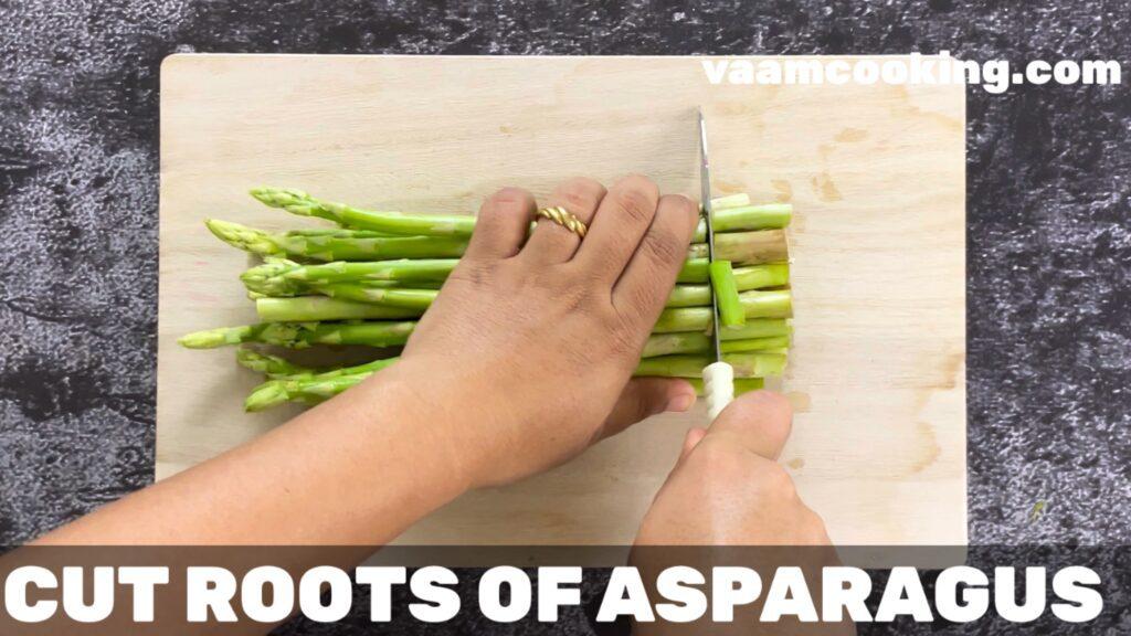 sauteed asparagus cut roots