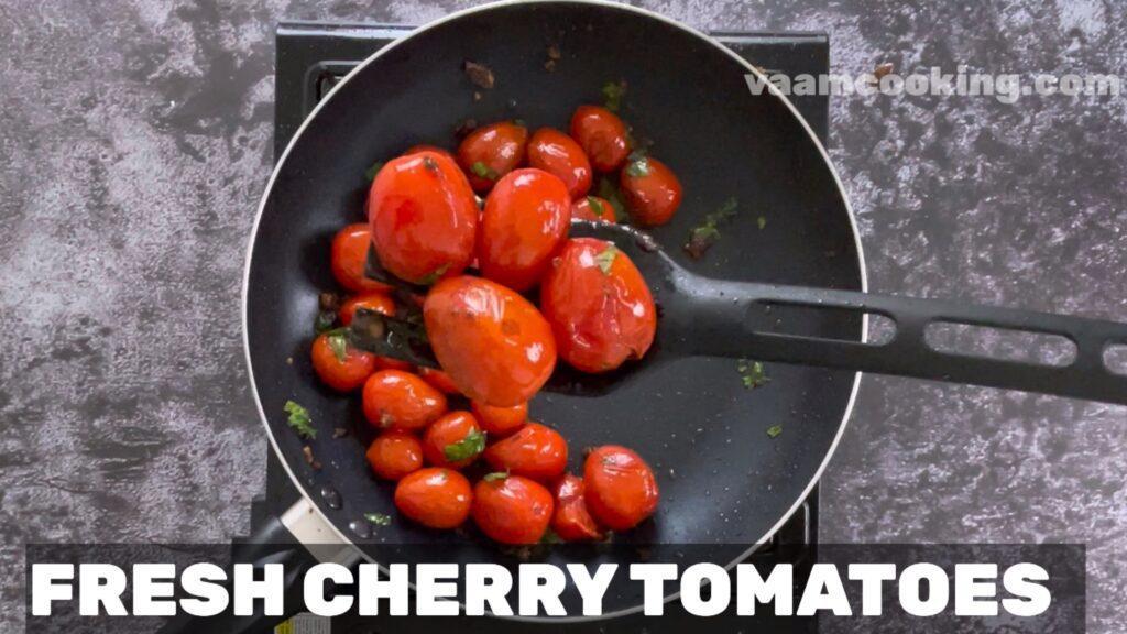 sauteed cherry tomaoes with garlic & basil